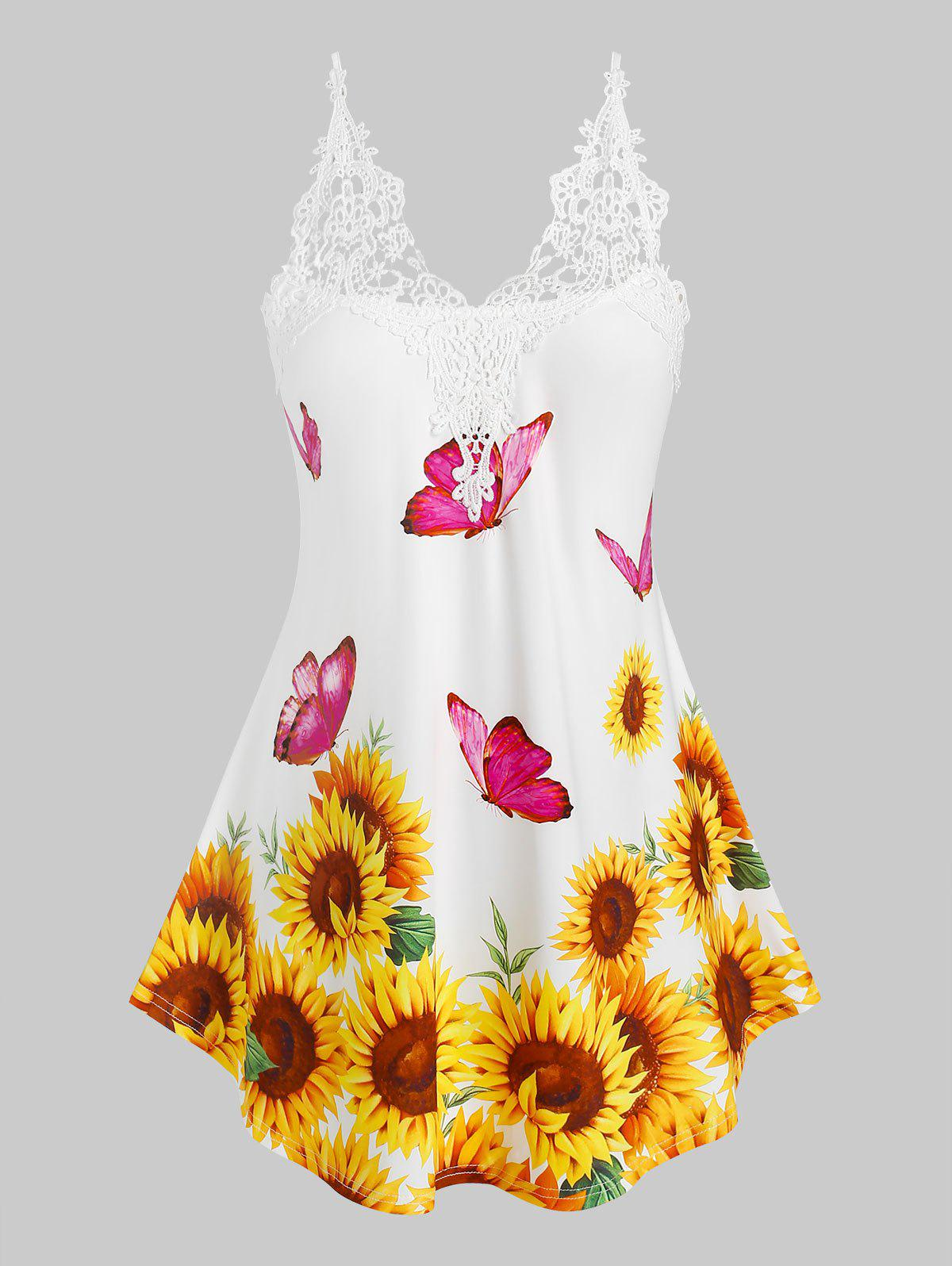 Plus Size Sunflower Butterfly Print Applique Panel Cami Top - YELLOW 4X