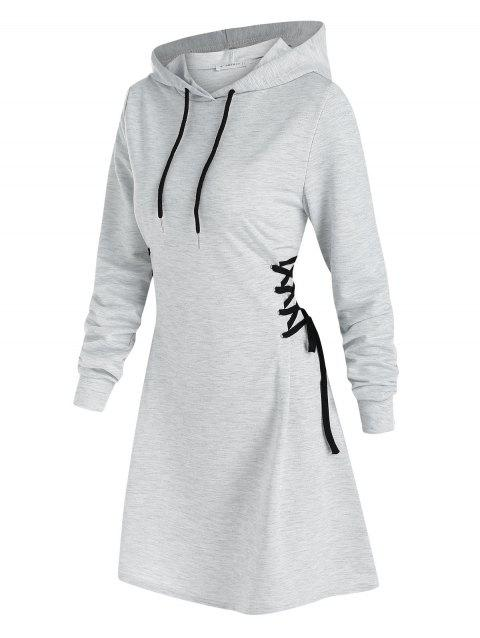 Lace Up Mini Hoodie Dress