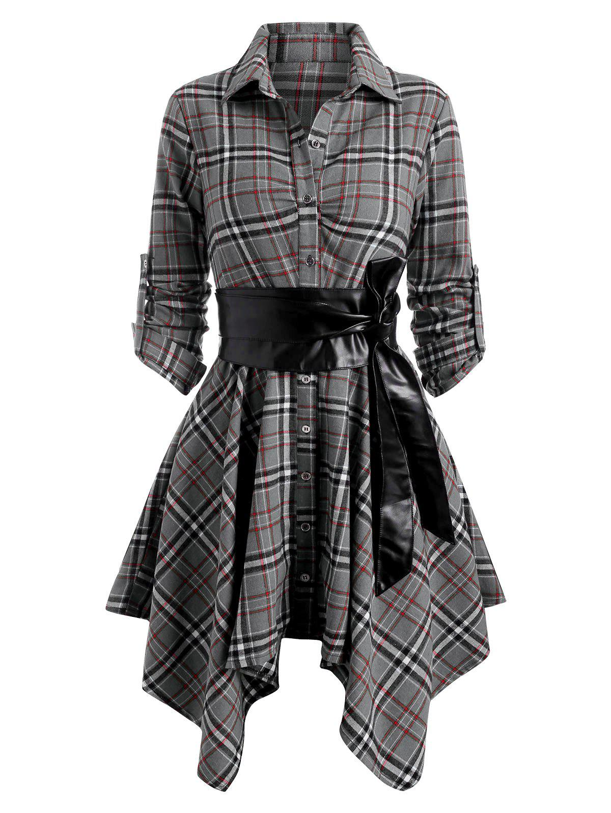 Plaid Belted Roll Up Sleeve Handkerchief Dress - GRAY L
