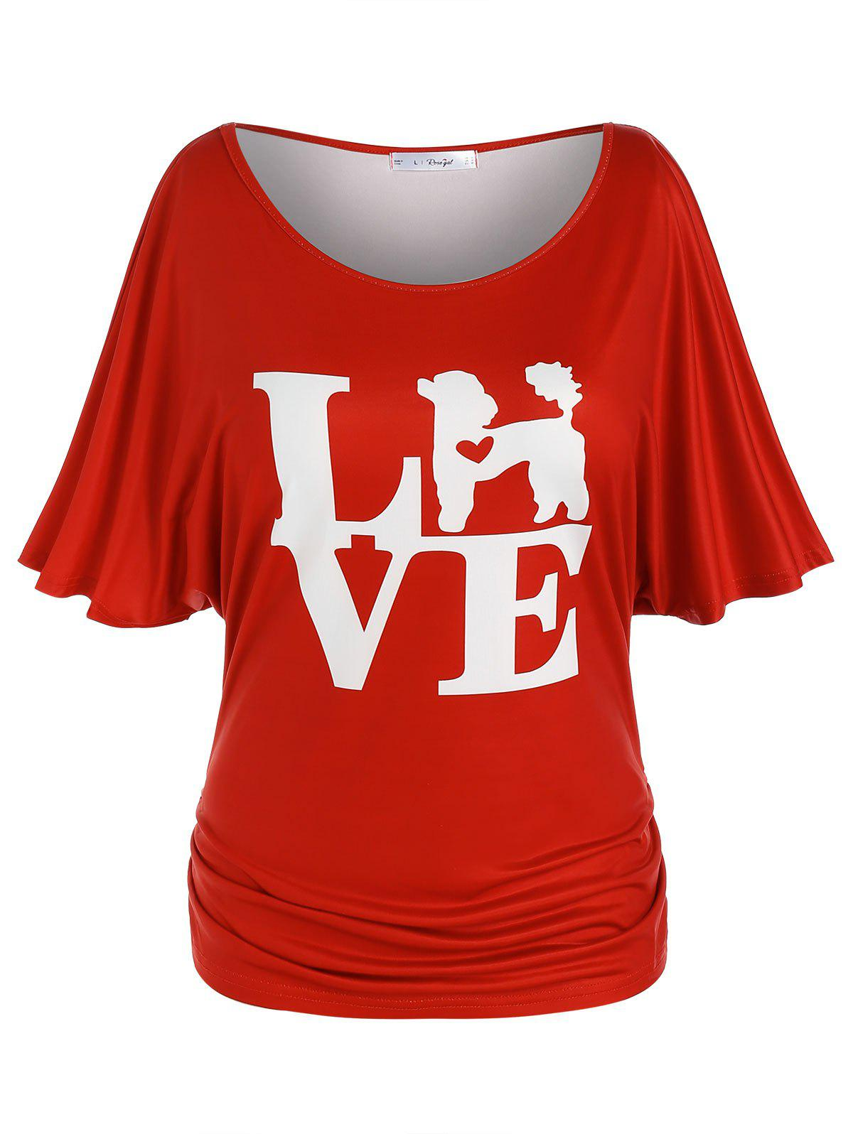 Plus Size Batwing Sleeve Ruched LOVE Graphic Tee - RED 5X