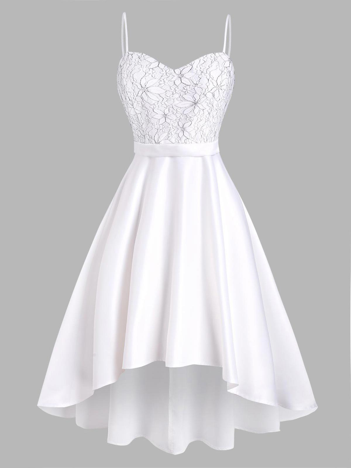 High Low Lace Panel Cami Party Dress - WHITE 2XL