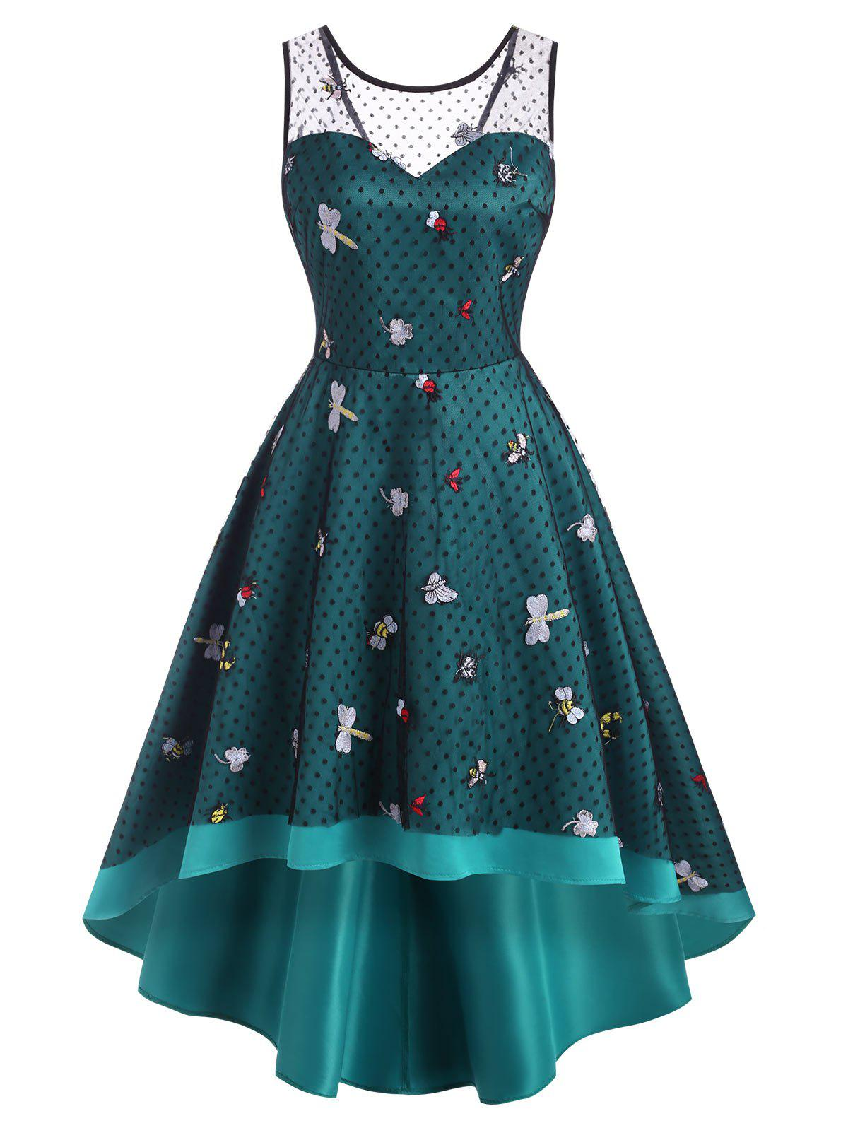 High Low Mesh Sheer Insect Embroidered Party Dress - DEEP GREEN 2XL