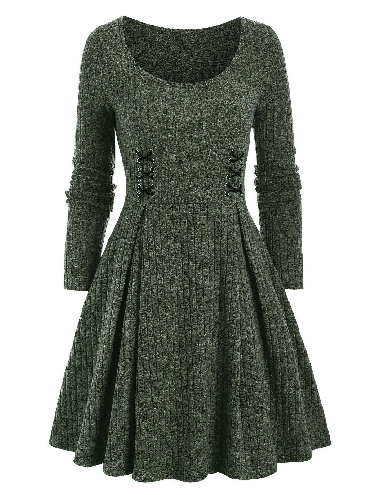 Crisscross Ribbed Mini High Waist Dress - DEEP GREEN 2XL