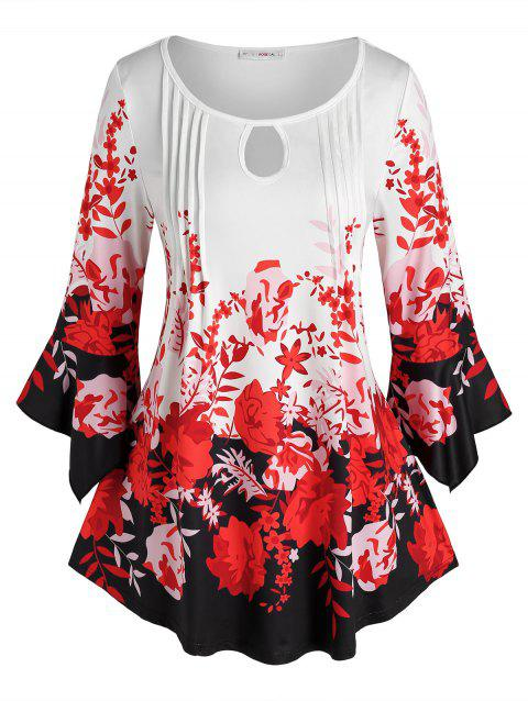 Plus Size Bell Sleeve Floral Print Pleat Tee