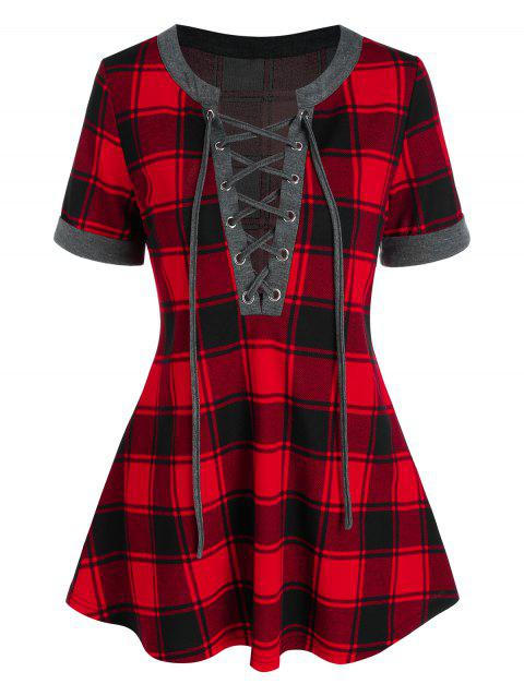 Plaid Lace Up Tee
