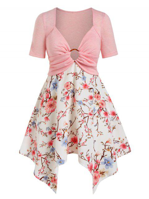 Plus Size O Ring Floral Print Handkerchief Tee