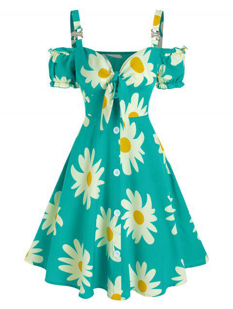 Daisy Printed Knot Button Puff Sleeve Dress