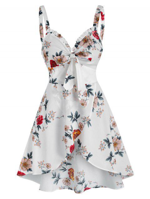 Floral Print Bow Detail Overlap Tank Top