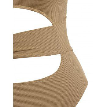 One Shoulder Ribbed Waist Tie Cutout One-piece Swimsuit