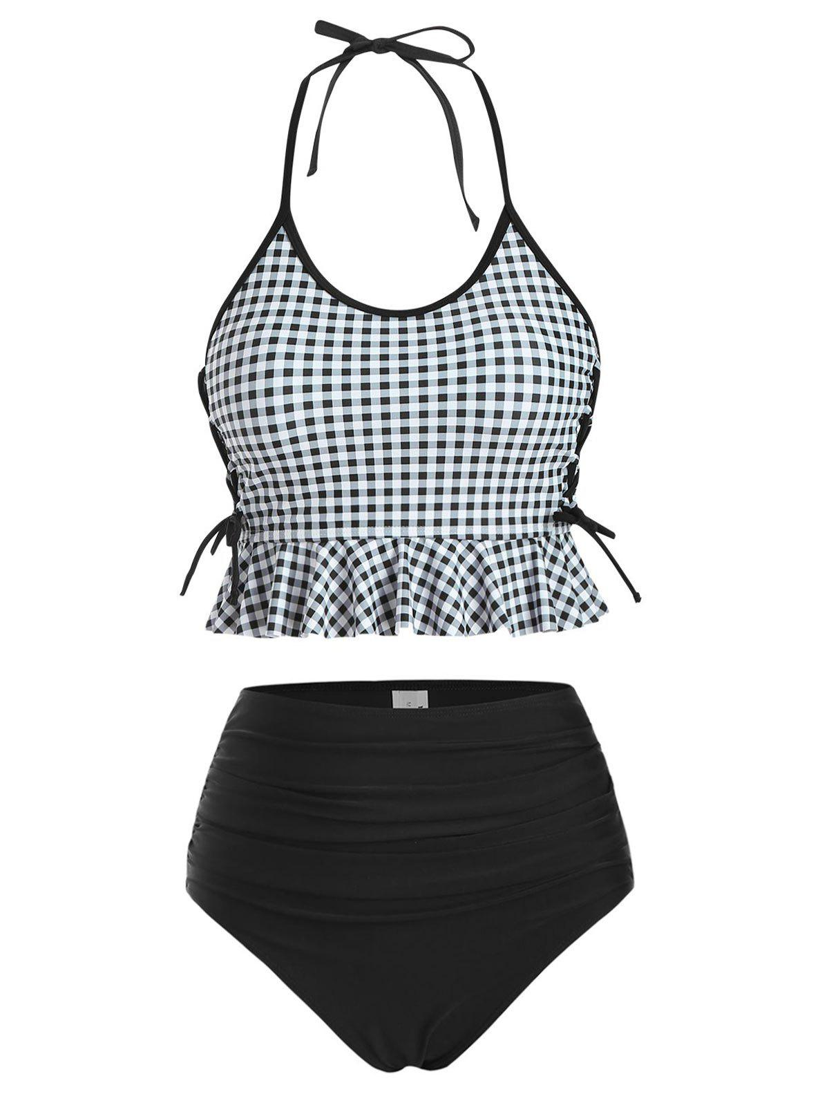 Halter Gingham Ruffle Lace-up Ruched Tankini Swimwear - BLACK L