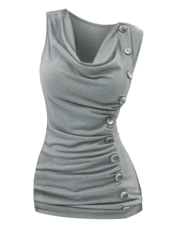 Plus Size Cowl Neck Ruched Mock Button Tank Top - DARK GRAY 5XL