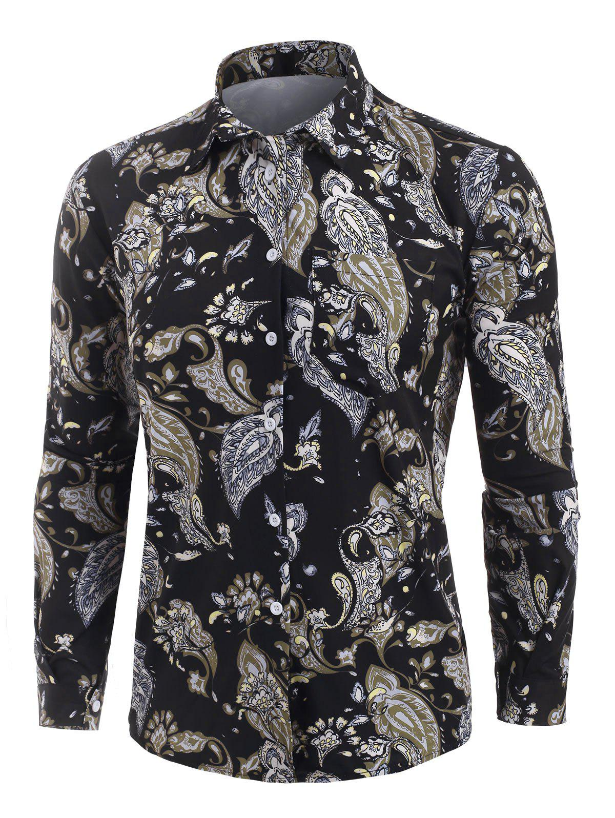 Flower Vintage Print Long Sleeve Shirt - NIGHT 2XL