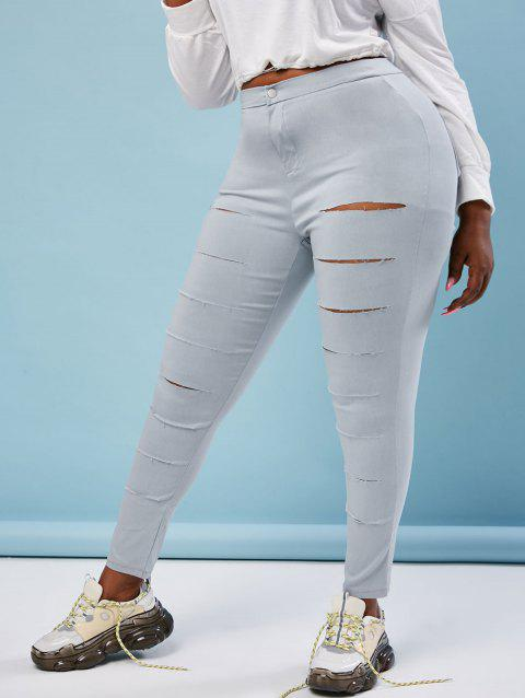 Colored Ladder Ripped Plus Size Skinny Pants