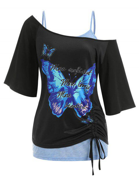 Plus Size Skew Neck Butterfly Print Cinched Tee and Lace Tank Top Twinset