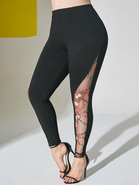Floral Embroidered Mesh Panel Plus Size Leggings