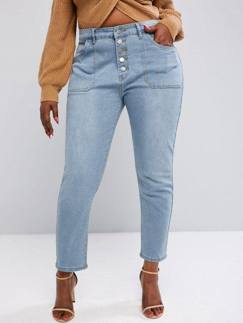 Plus Size Button Fly Patch Pocket Light Wash Jeans