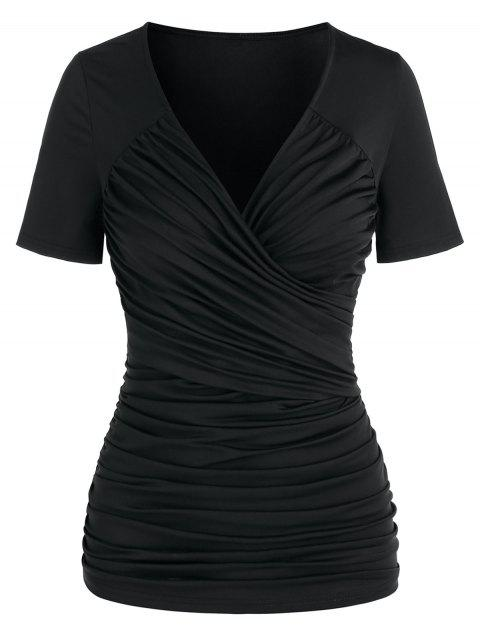 Short Sleeve Ruched Surplice T-shirt
