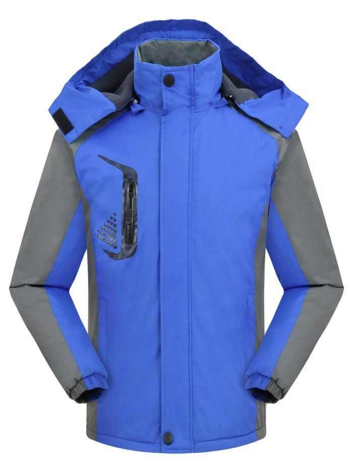 Hooded Graphic Print Contrast Fleece Jacket - BLUEBERRY BLUE XL