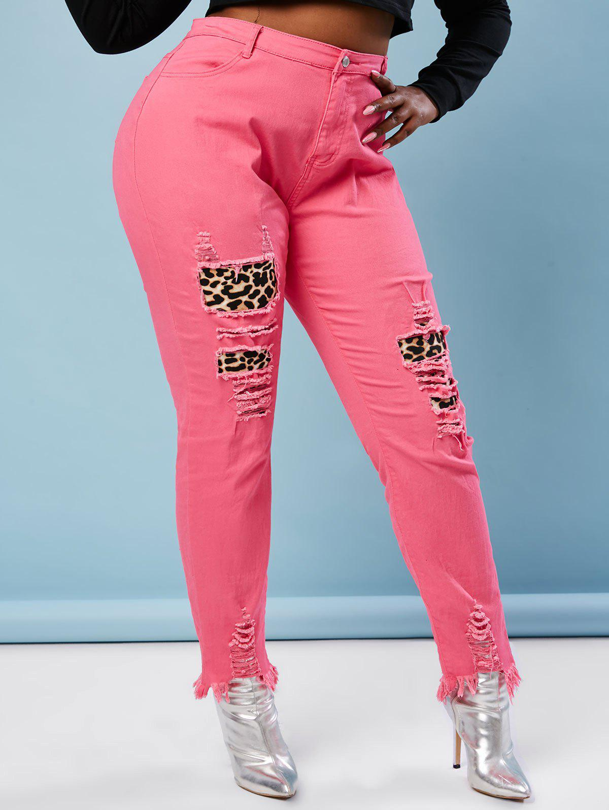 Neon Colored Ripped Leopard Panel Plus Size Skinny Jeans - LIGHT PINK 3XL