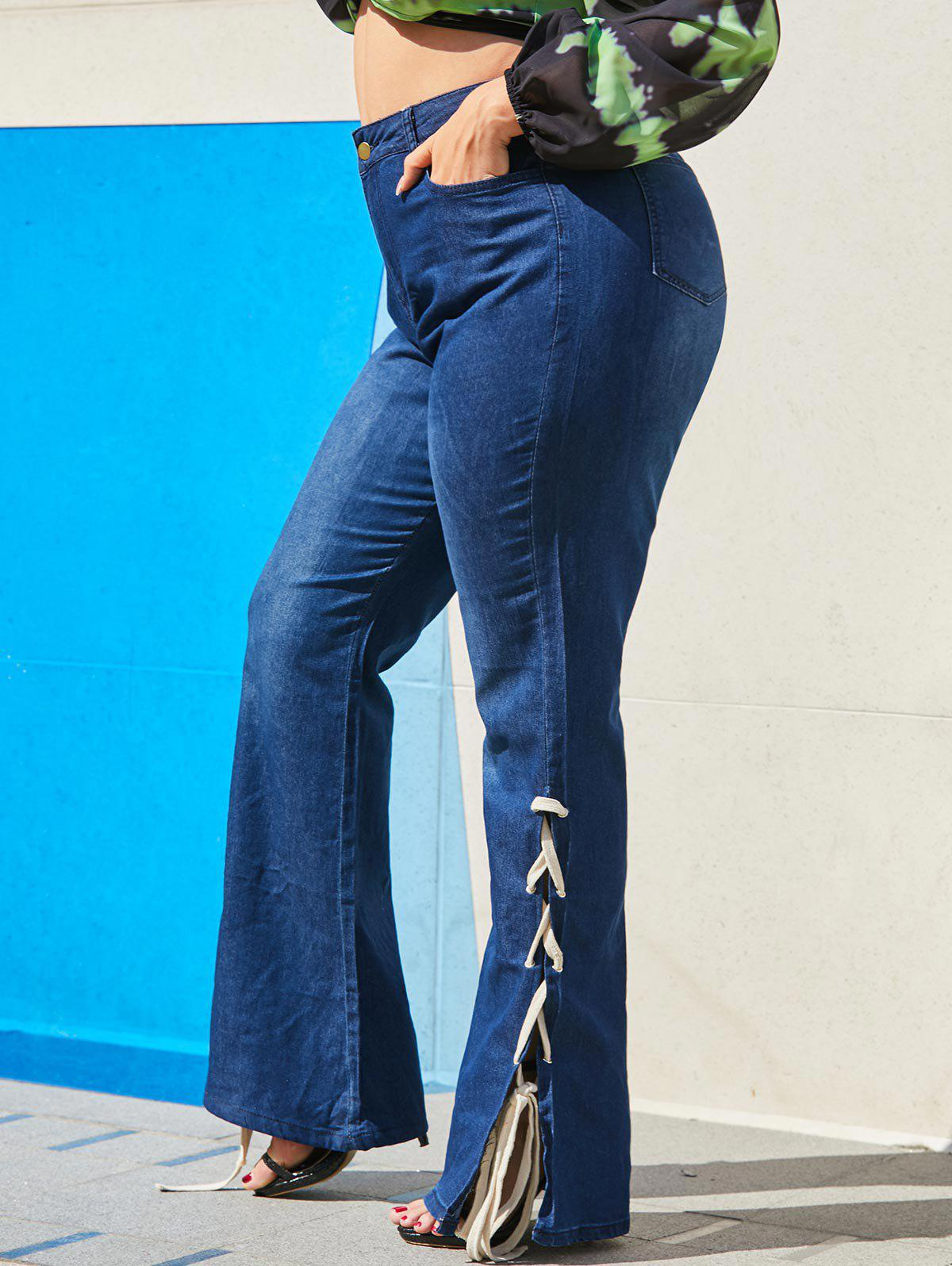Lace Up Side High Waisted Plus Size Flare Jeans - DEEP BLUE 3XL