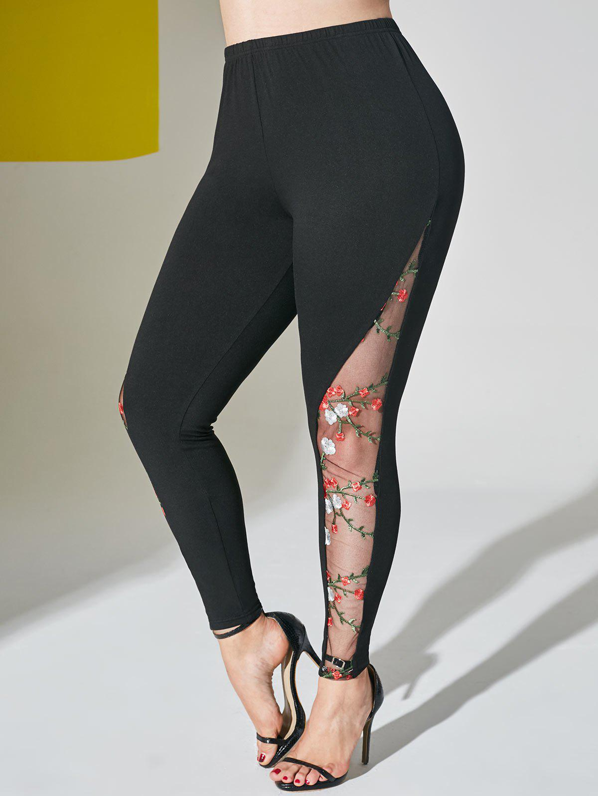 Floral Embroidered Mesh Panel Plus Size Leggings - BLACK 1X