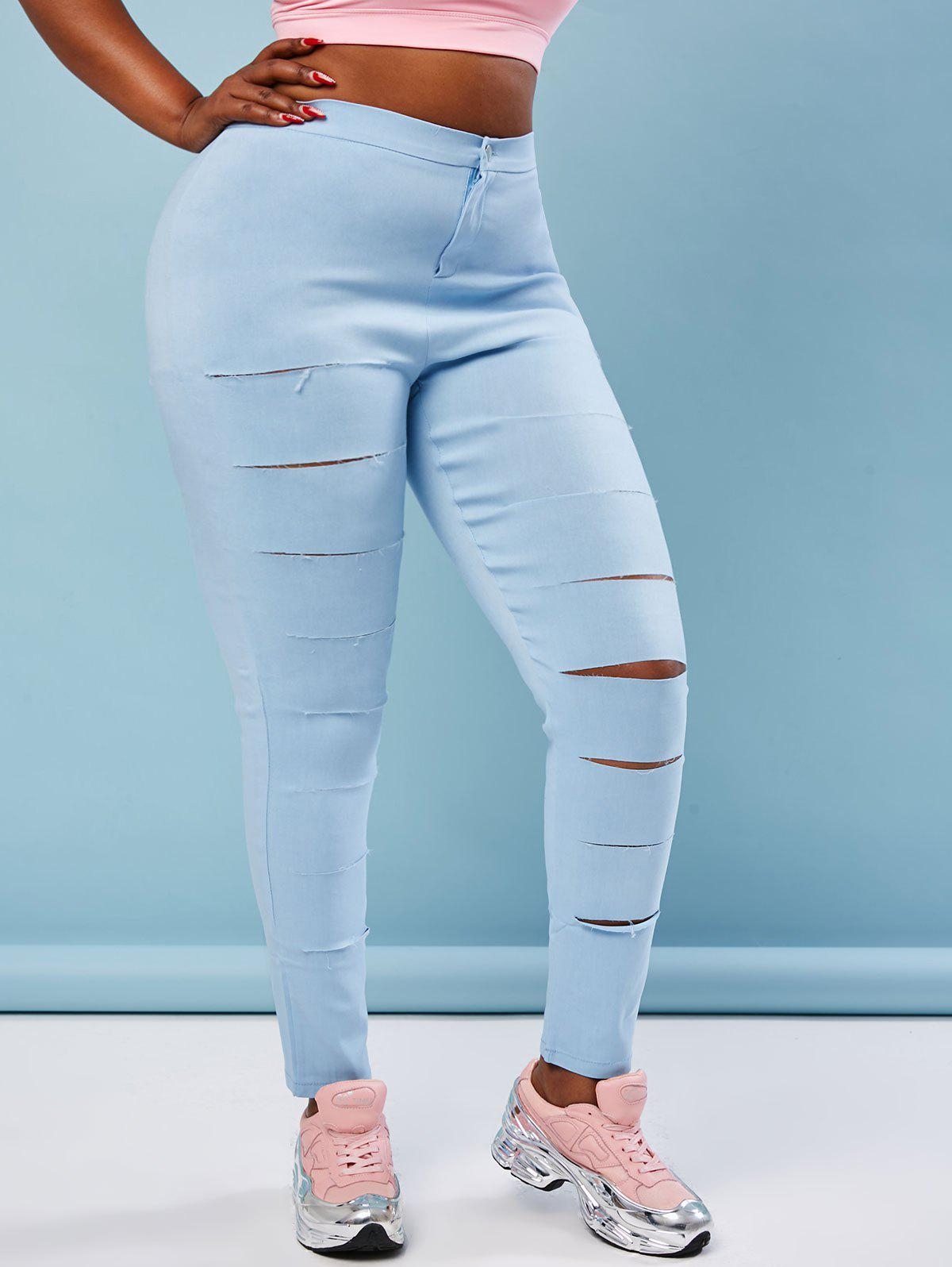 Colored Ladder Ripped Plus Size Skinny Pants - LIGHT BLUE 3XL