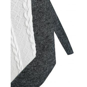 Two Tone Patchwork Skew Collar Sweater