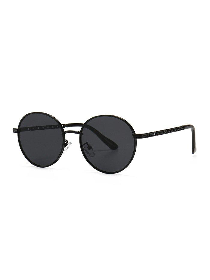 Metal Hollow Out Temple Round Sunglasses - BLACK