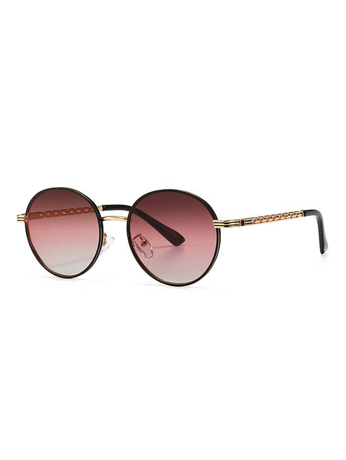 Metal Hollow Out Temple Round Sunglasses - TULIP PINK