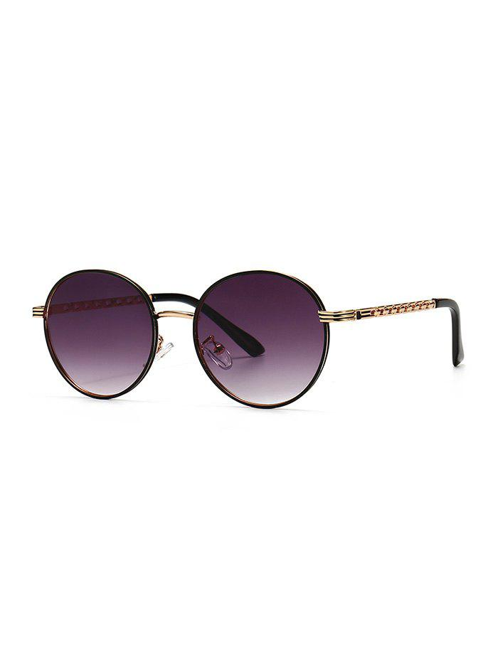 Metal Hollow Out Temple Round Sunglasses - VIOLA PURPLE