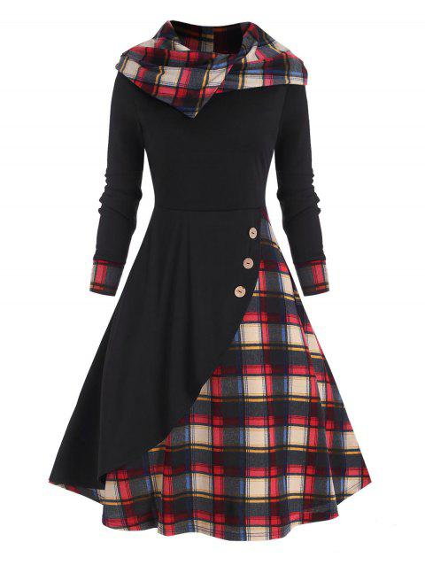 Plaid Hooded Mock Button Overlap Midi Dress