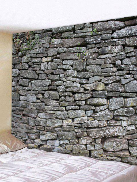 3D Gray Stone Wall Print Tapestry