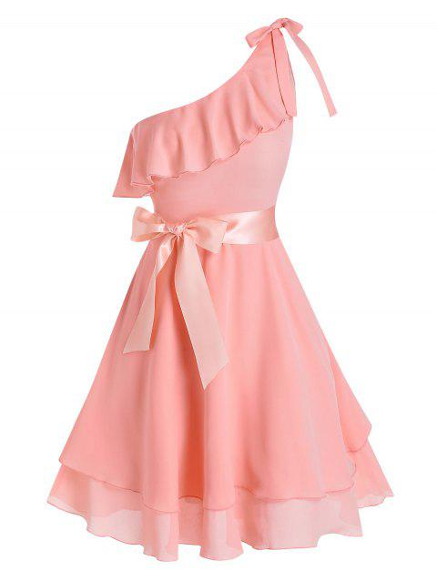 Ribbon Bowknot One Shoulder Layered Dress