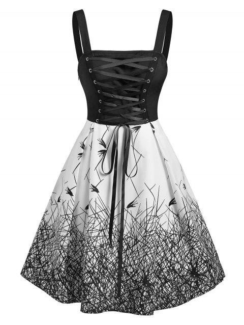 Gothic Lace Up Printed Mini Dress