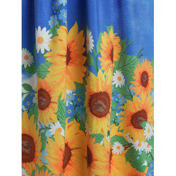 Plus Size Ruffle Cold Shoulder Sunflower Print Tee