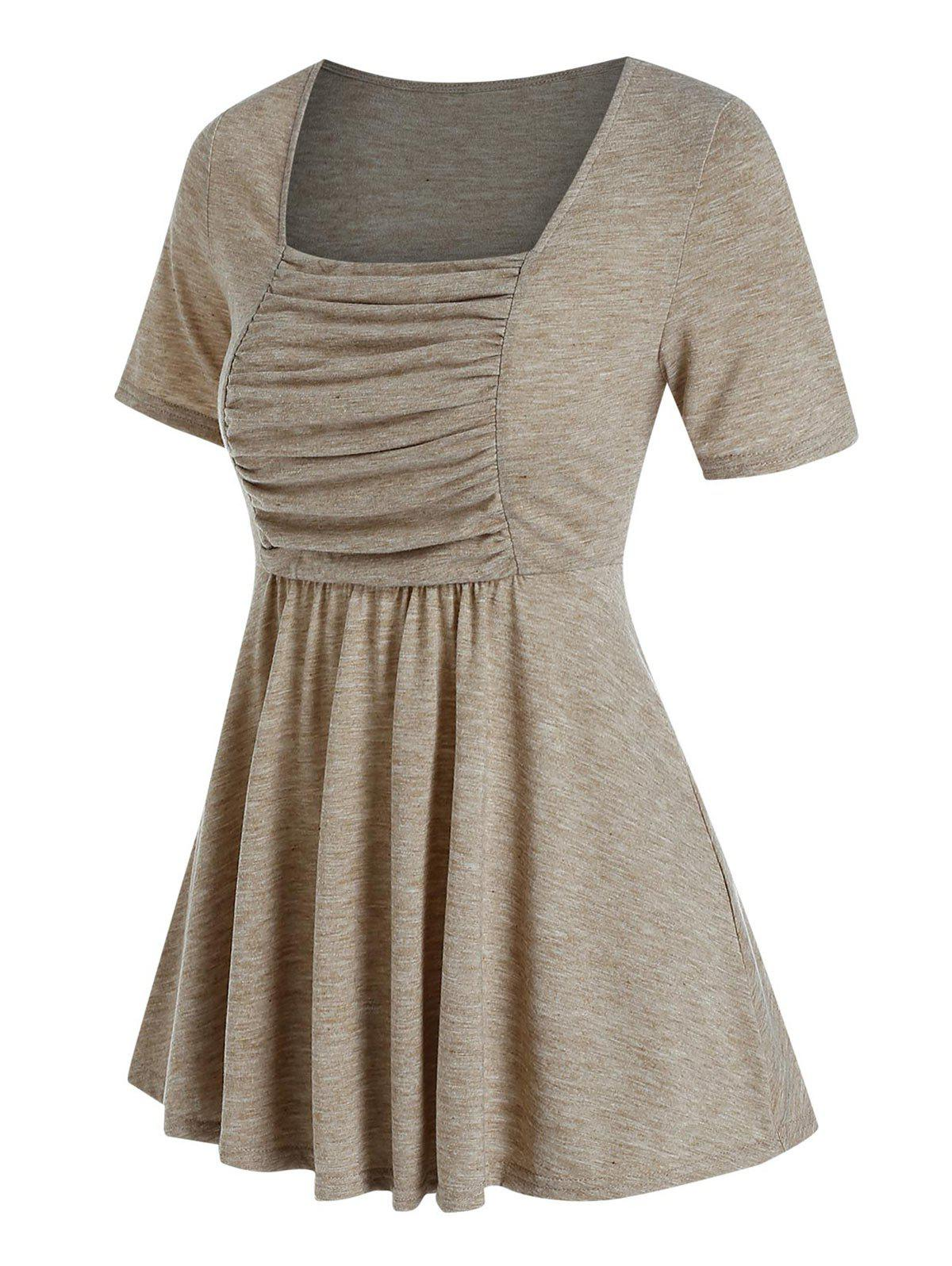Square Neck Ruched Solid Flare T Shirt - LIGHT COFFEE XXXL