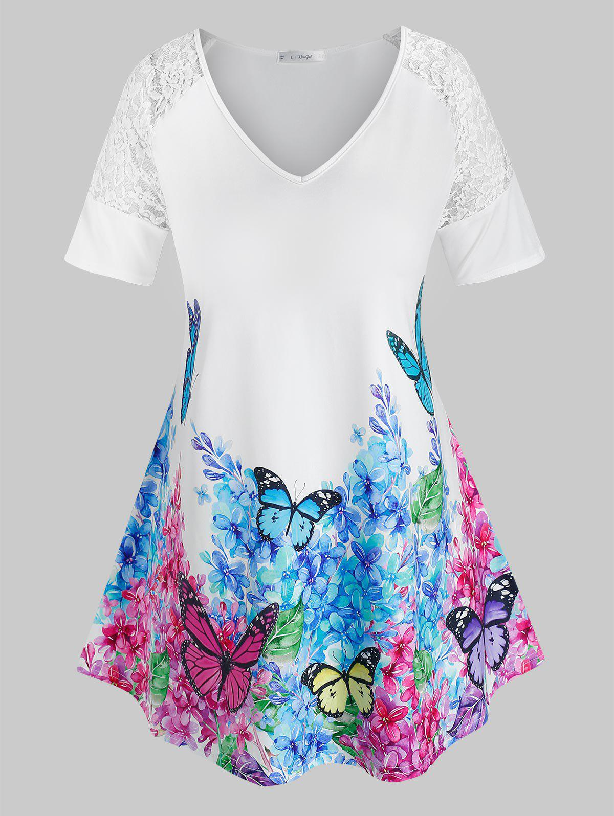 Plus Size Lace Insert Floral Butterfly Print Tee - WHITE 4X