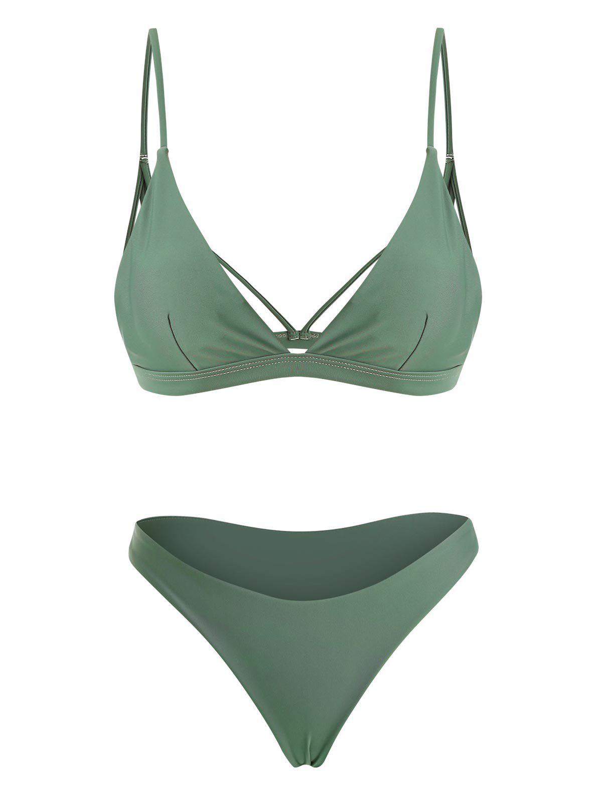 Back Strappy Padded Bathing Suit - GREEN L