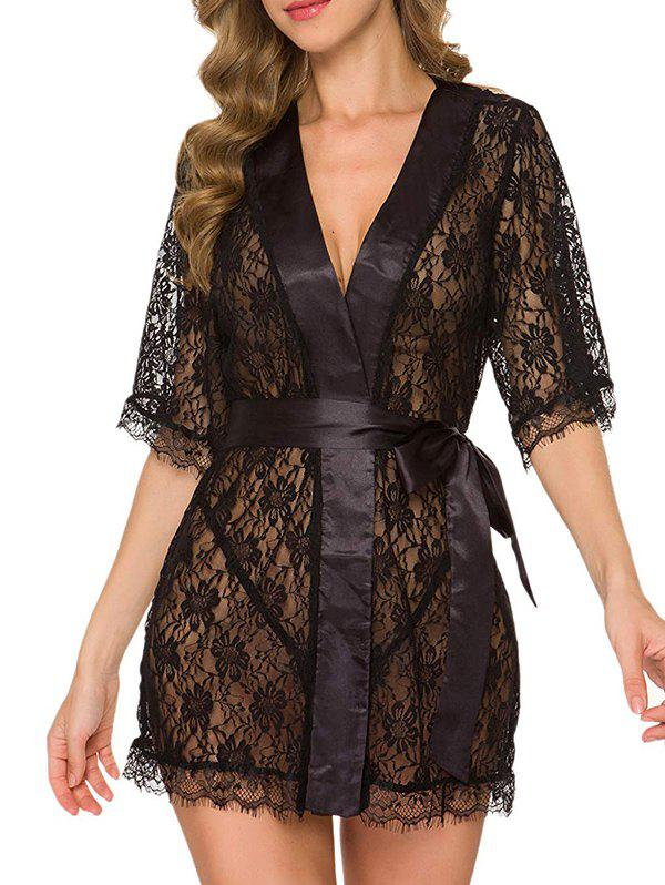 Ribbon Trim Lace Robe Set - BLACK XXL