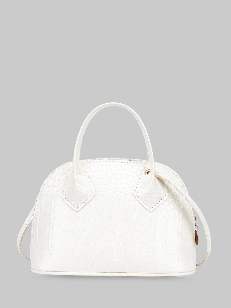 Animal Embossed Simple Style Crossbody HandBag - WHITE