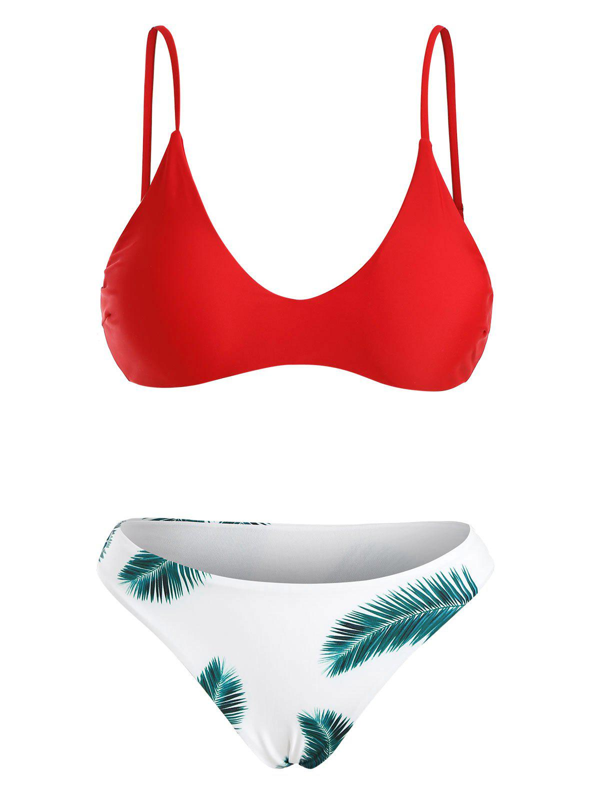 Padded Bra and Floral Leaf Print Bottoms - LOVE RED L