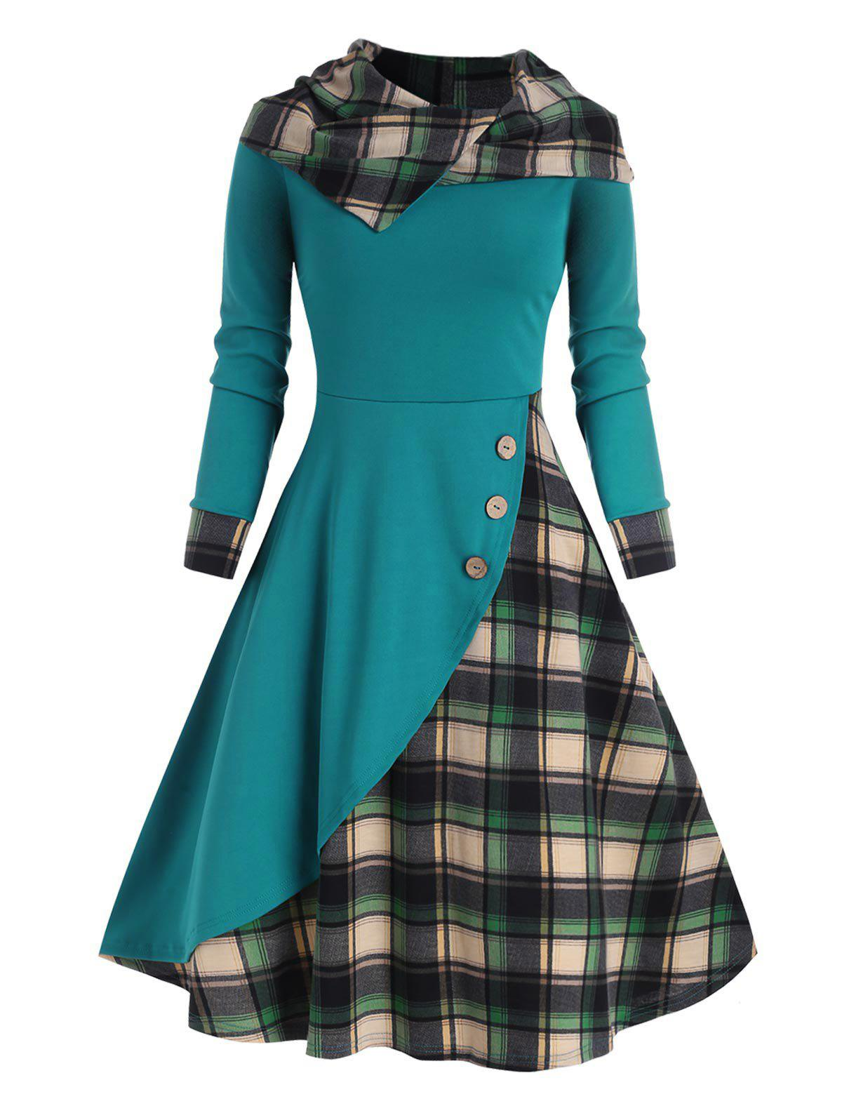 Plaid Hooded Mock Button Overlap Midi Dress - GREEN S