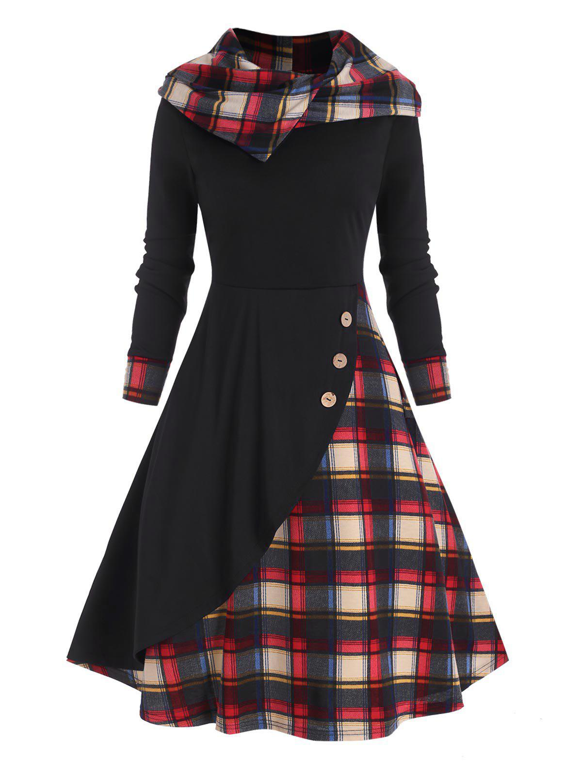 Plaid Hooded Mock Button Overlap Midi Dress - RED XL