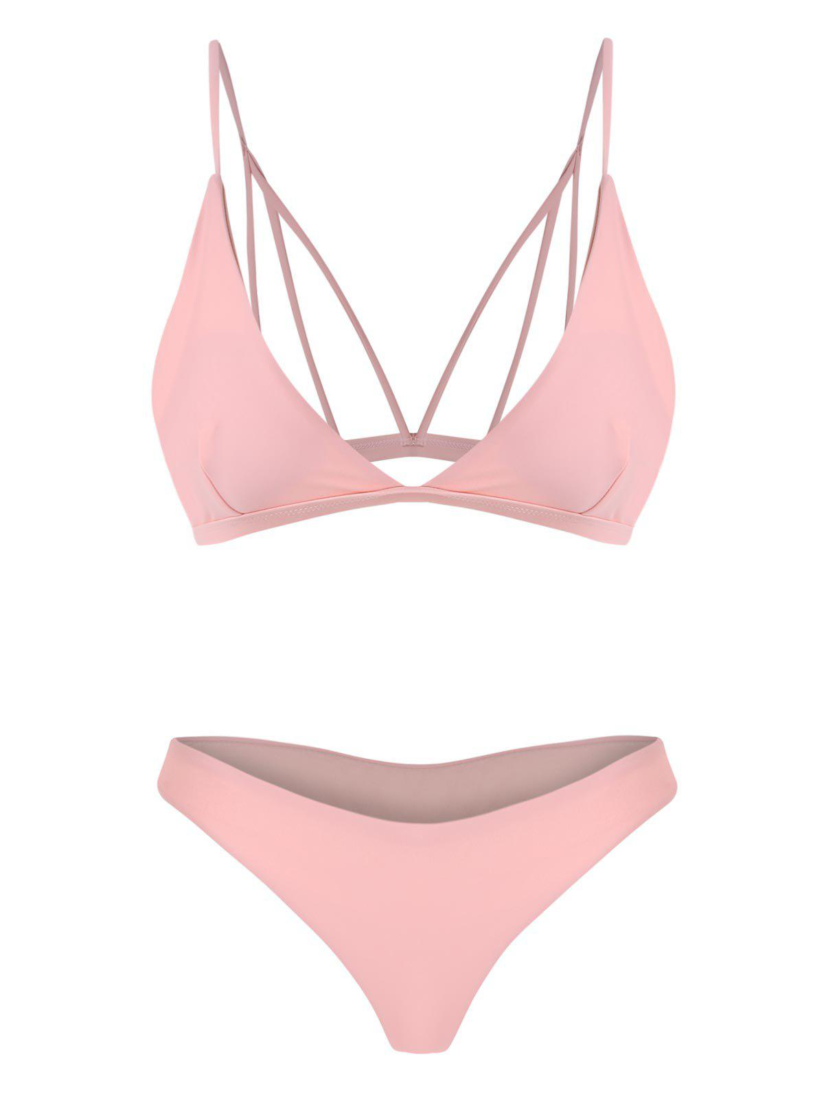 Back Strappy Padded Bathing Suit - SHALLOW PINK M