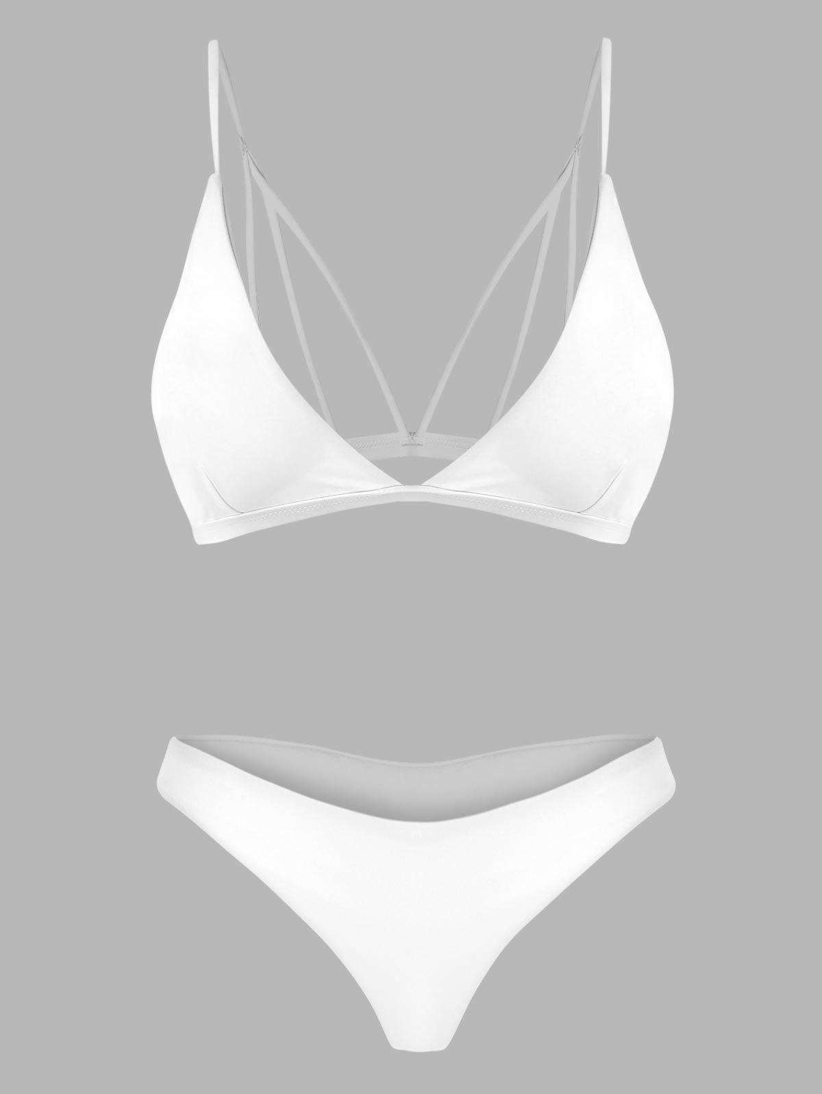 Back Strappy Padded Bathing Suit - WHITE M