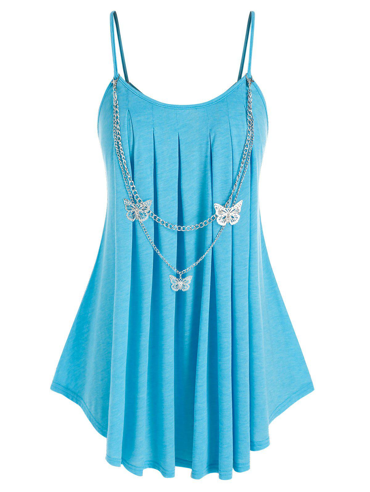 Plus Size Butterfly Chain Embellish Pleated Detail Cami Tunic Top - BLUE L