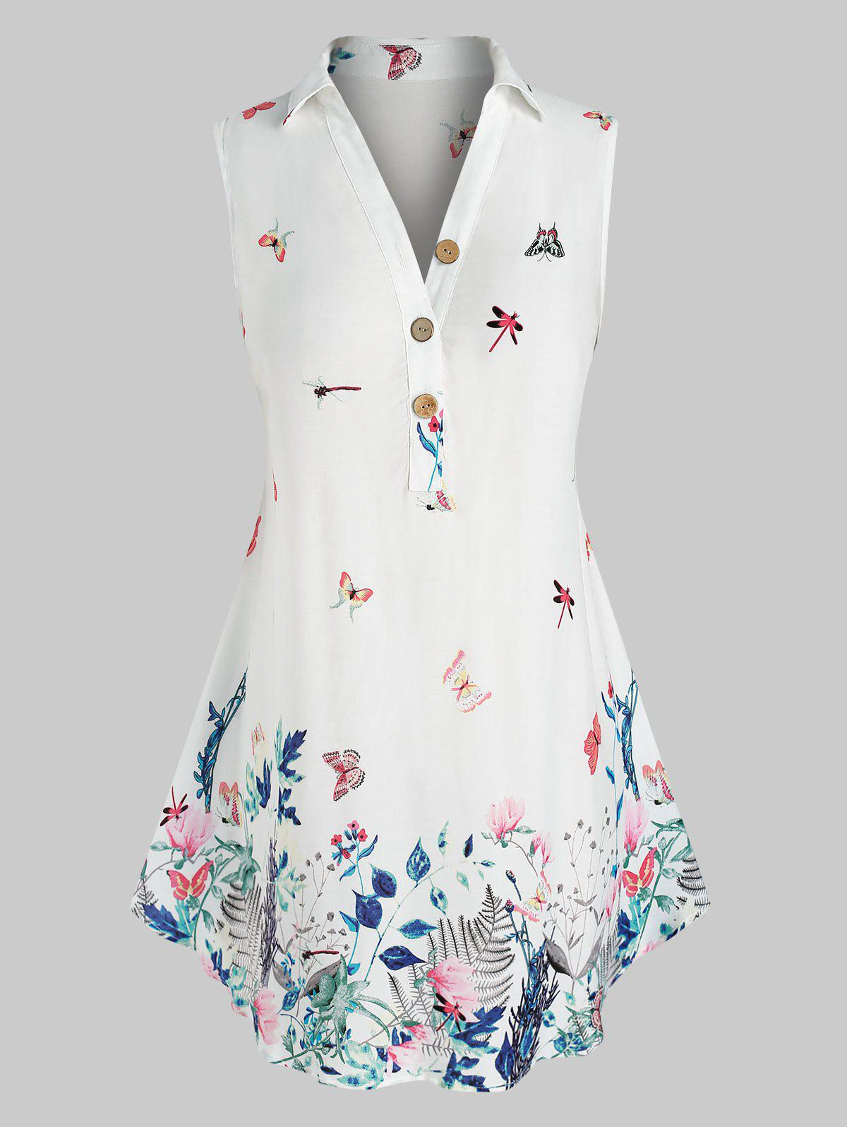 Plus Size Butterfly Floral Print Sleeveless Blouse - WHITE 5X