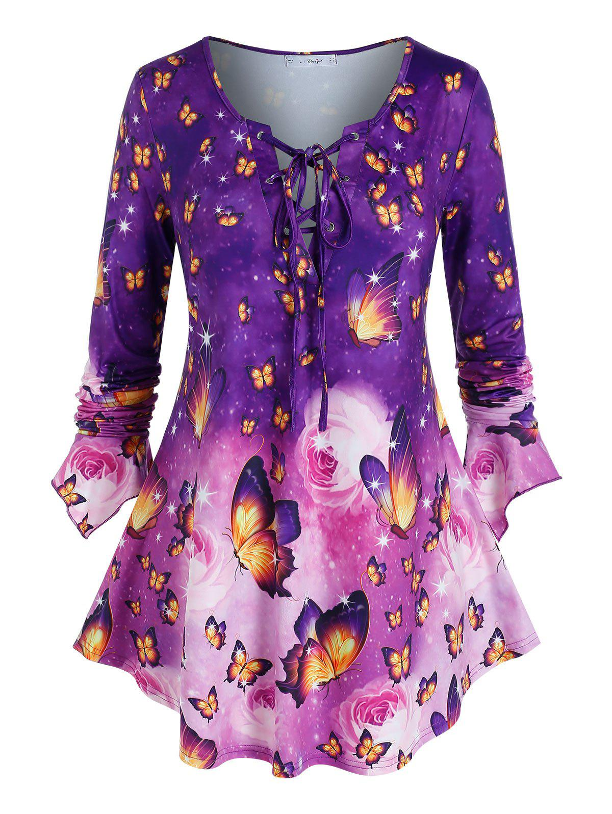 Plus Size Lace Up Butterfly Print Bell Sleeve Tee - PURPLE 5X