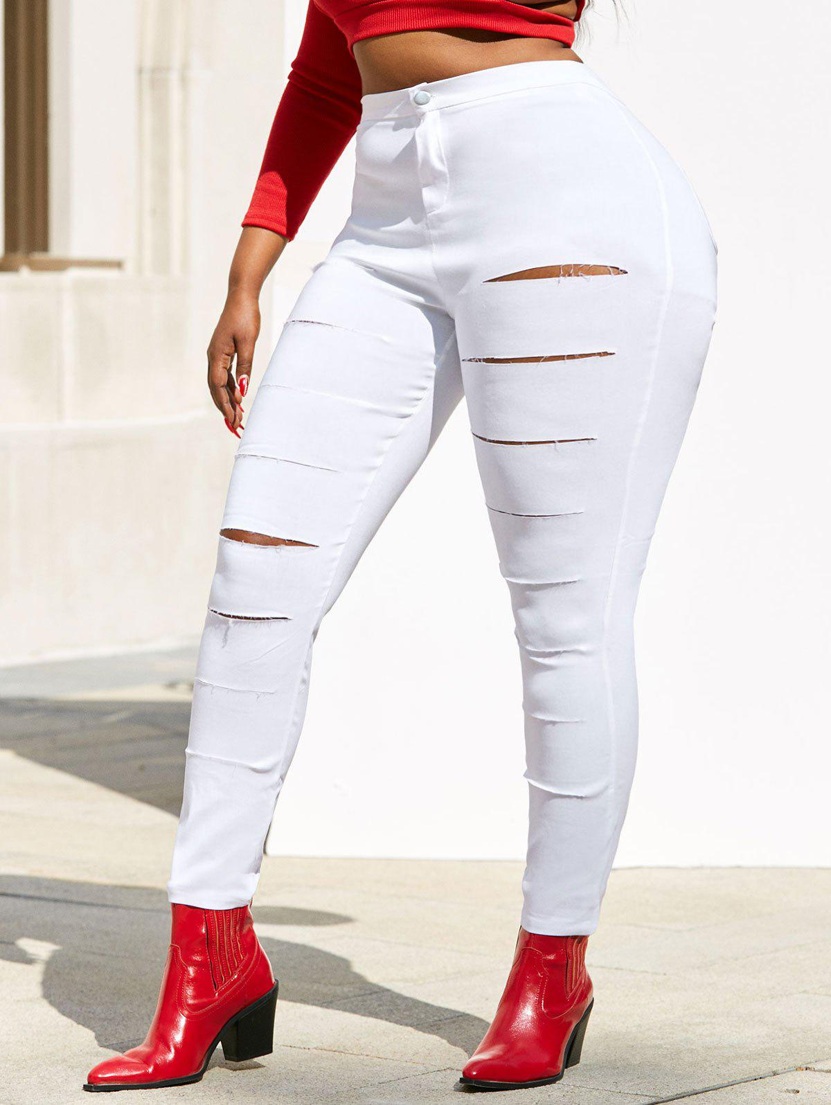 Colored Ladder Ripped Plus Size Skinny Pants - WHITE 2XL