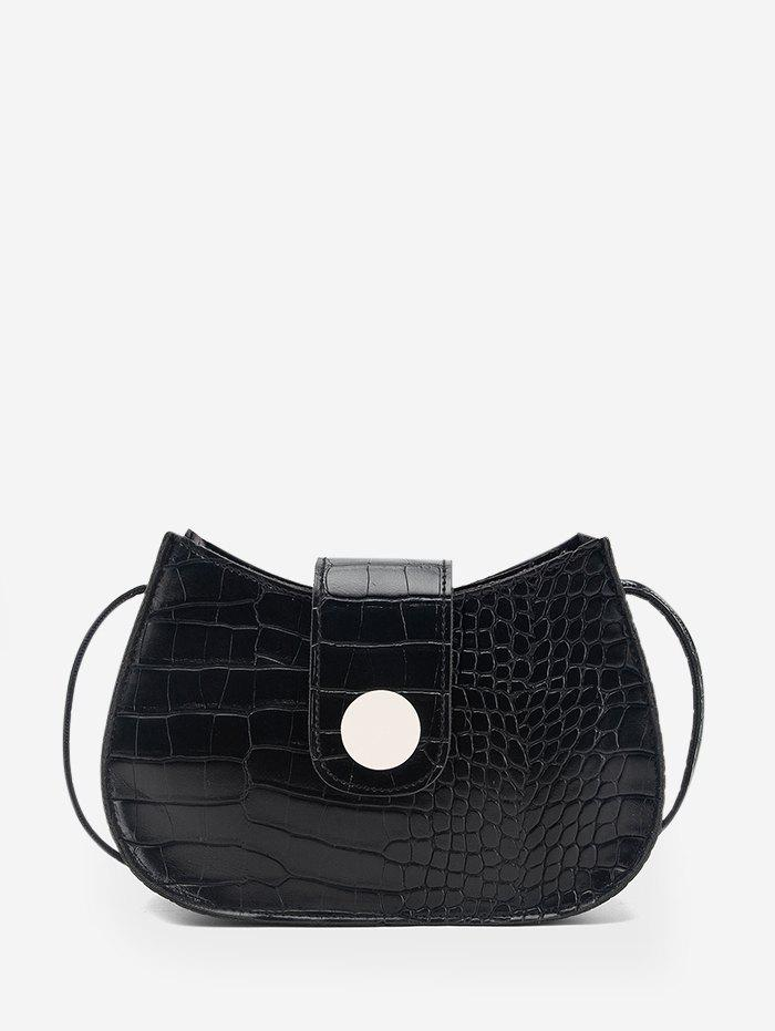 Button Textured Small Crossbody Bag - BLACK